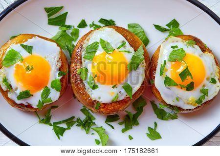 Tapas mushrooms with quail eggs from Spain pinchos pintxos