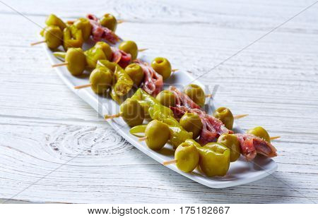 Gilda pinchos with olives and anchovies tapas from Spain