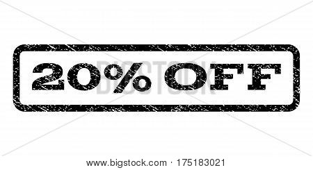 20 Percent Off watermark stamp. Text caption inside rounded rectangle with grunge design style. Rubber seal stamp with scratched texture. Vector black ink imprint on a white background.