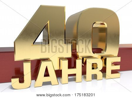 Golden digit forty and the word of the year. Translated from the German - years.3D illustration