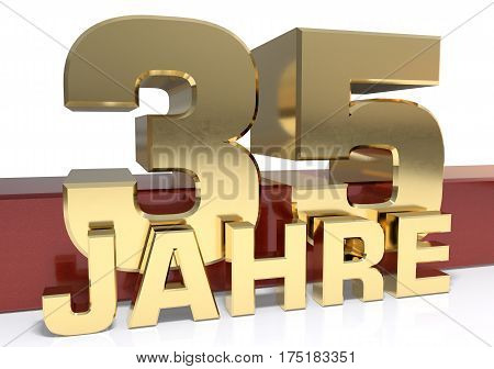 Golden digit thirty five and the word of the year. Translated from the German - years.3D illustration