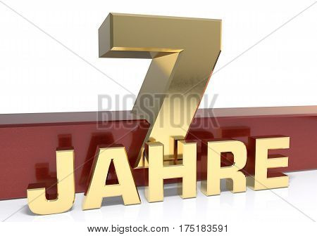 Golden digit seven and the word of the year. Translated from the German - years.3D illustration