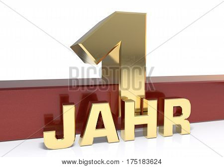 Golden digit one and the word of the year. Translated from the German - years.3D illustration