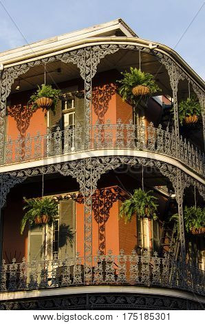 New Orleans, USA - July 13, 2015: A French-inspired building with iron balconies in French Quarter, New Orleans, Louisiana.