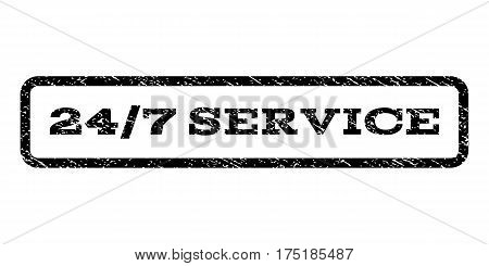 24-7 Service watermark stamp. Text caption inside rounded rectangle with grunge design style. Rubber seal stamp with unclean texture. Vector black ink imprint on a white background.