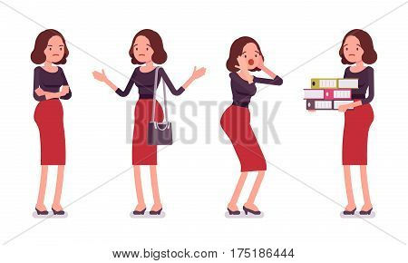Set of young unhappy secretary showing negative emotions, troubled executive assistant, frustrated with much work and administrative duties, having no motivation, full length, white background