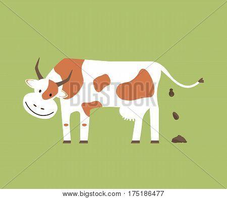 Cow shit. Organic manure. Vector illustration flat design