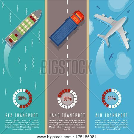Transportation top view infographics vector illustration. Transport and delivery by land transport, sea and plane. Infographic transport ship car and plane