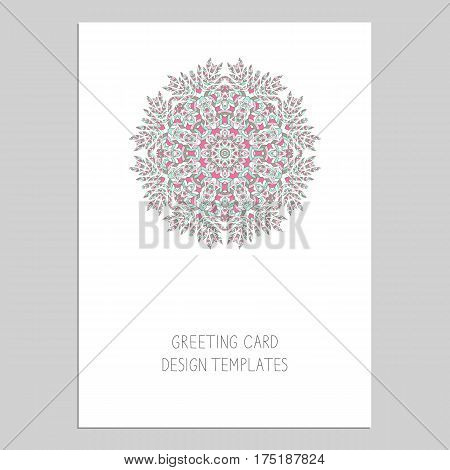 Template for greeting and business cards, brochures, covers with floral motifs. Oriental pattern. Mandala. Wedding invitation, save the date, RSVP. Arabic, Islamic, asian, indian, african motifs.