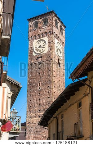 Grugliasco,Turin,Italy,Europe - August 23, 2016 : View of the medieval Civic Tower of Grugliasco