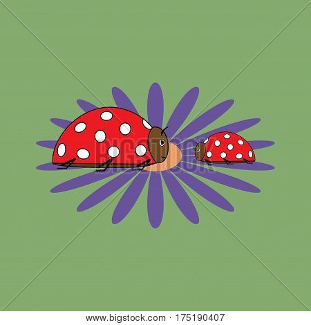 Ladybug isolated. Illustration ladybug on green background. Cute colorful sign red insect symbol spring summer garden. Template for t shirt apparel card poster Design element Vector illustration