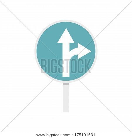 Blue straight or right turn ahead road siign icon in flat style isolated on white background vector illustration