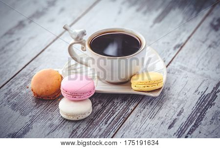 Multicolored Macaroon And  Vintage Coffe Cup