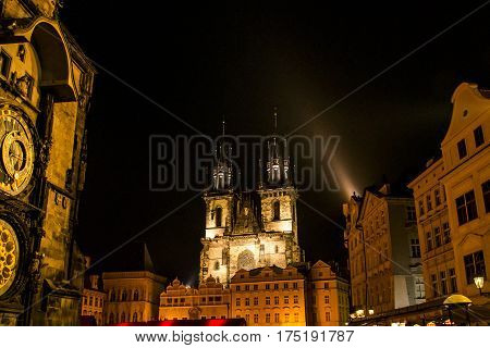 Famous Tyn Cathedral Twin Tower at night illuminated on the Prague Town Square Czech Republic Europe