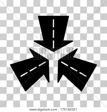 Merge Directions icon. Vector illustration style is flat iconic symbol black color transparent background. Designed for web and software interfaces.