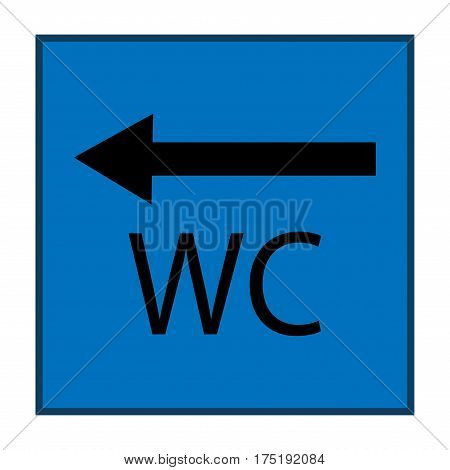 WC icon and arrow left in blue square on white background. Sign restroom women and men. Symbol public washroom and bathroom. Template for postersign. Flat vector image. Vector illustration.