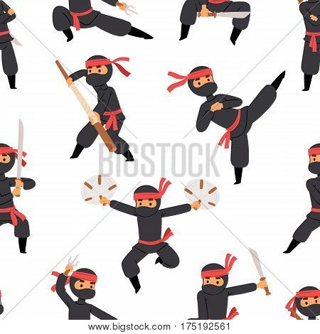Different poses of ninja fighter in black cloth character warrior sword martial weapon japanese man and karate cartoon person seamless pattern vector illustration