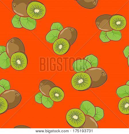 Seamless Pattern of Kiwifruit ,Fruit Kiwi on Orange Background, Vector Illustration