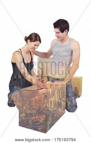 Young couple moving in New York city.