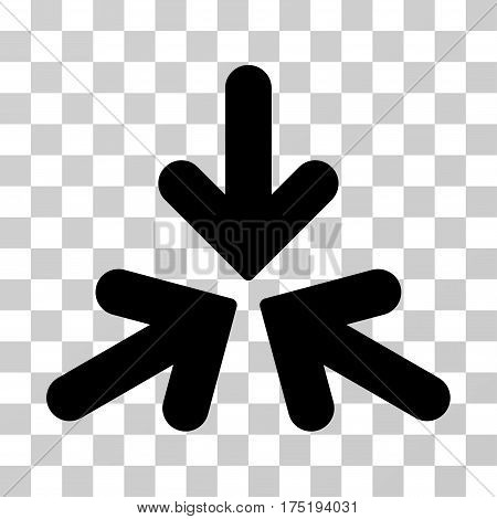 Triple Collide Arrows icon. Vector illustration style is flat iconic symbol black color transparent background. Designed for web and software interfaces.