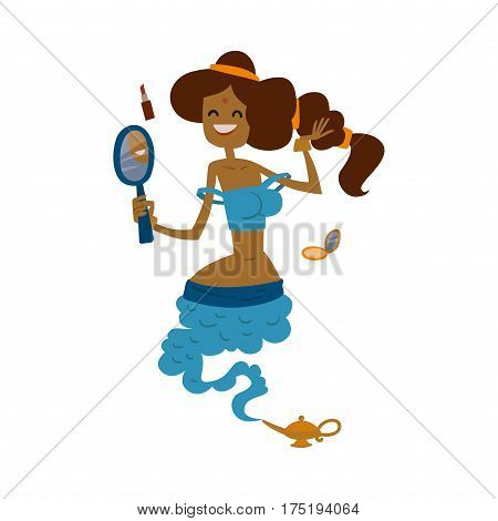 Illustration of beautiful princess genie from the magic lamp on a white background. Set of fairy tale characters cute cartoon gin. Beauty princess djinn magic fairy character.