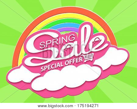 Spring sale special offer. Sale banner with calligraphic inscription. Vector illustration.