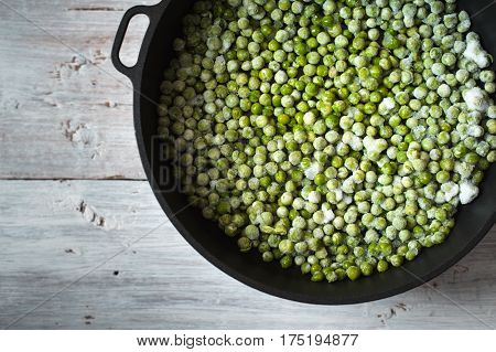 Green beans mung beans in the saucepan on the table horizontal