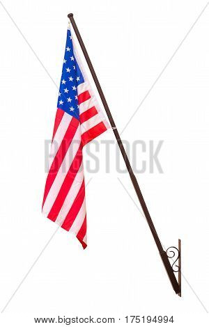 American flag with pole for decoration. Isolated on white background with clipping path.