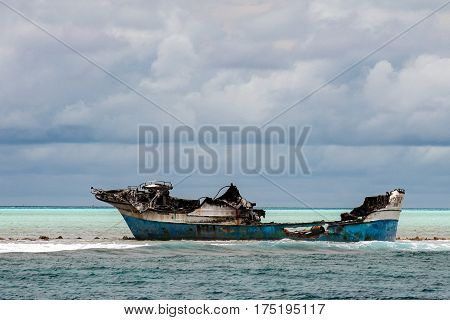 ship wreck in maldives sand reef VIEW