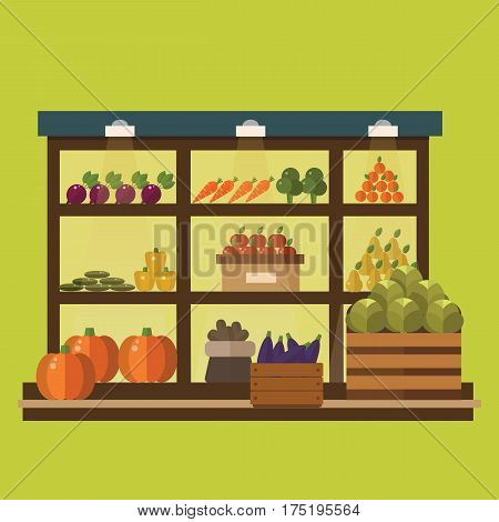 Fruit and vegetables shop stall. market fruits silhouette. Supermarket stall.
