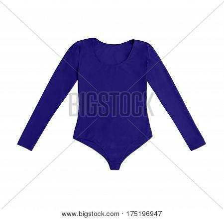 blue gymnastics bodysuit isolated on white background