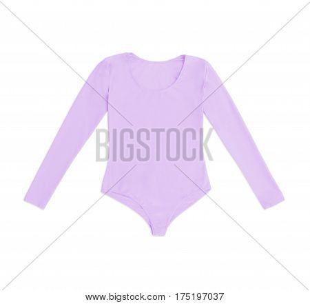 lilac gymnastics bodysuit isolated on white background
