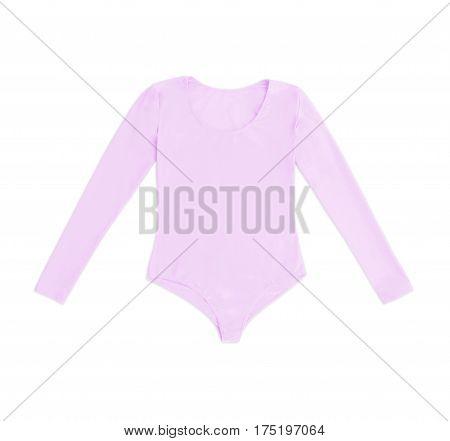 pink gymnastics bodysuit isolated on white background