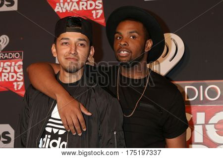 LOS ANGELES - MAR 5:  David Delgado, Diego Montana at the 2017 iHeart Music Awards at Forum on March 5, 2017 in Los Angeles, CA