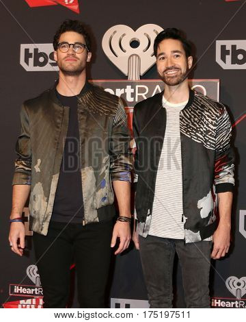 LOS ANGELES - MAR 5:  Darren Criss, Chuck Criss at the 2017 iHeart Music Awards at Forum on March 5, 2017 in Los Angeles, CA