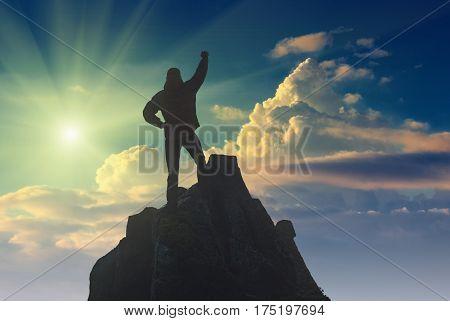 Hiker Against The Sun