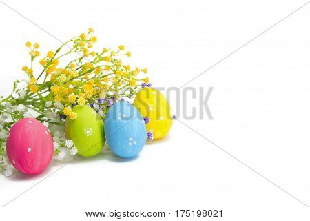 Hand Painted Easter Eggs And Flowers Isolated On White.