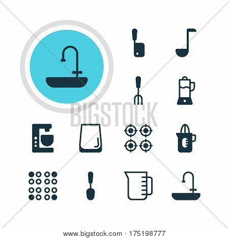 Vector Illustration Of 12 Cooking Icons. Editable Pack Of Fruit Squeezer, Carafe, Soup Spoon And Other Elements.