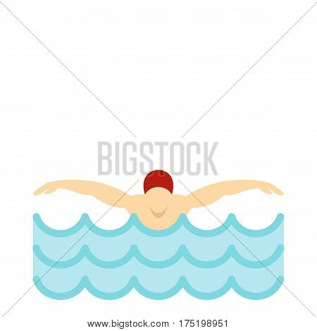Flat illustration of man in red cap in swimming pool vector icon in flat style isolated on white background vector illustration