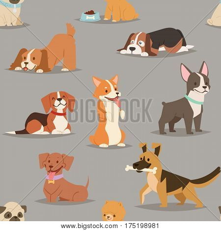 Different dogs breed cute puppy characters seamless pattern. Flat dogs breed vector icon illustration