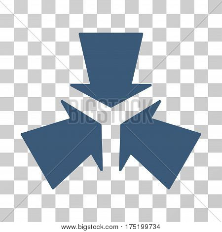 Shrink Arrows icon. Vector illustration style is flat iconic symbol blue color transparent background. Designed for web and software interfaces.