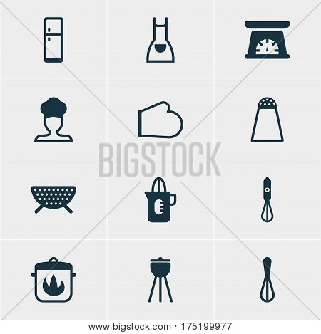Vector Illustration Of 12 Cooking Icons. Editable Pack Of Measuring Tool, Pepper Container, Stewpot And Other Elements.