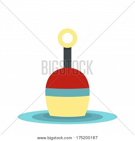 Red and white bobber icon in flat style isolated on white background vector illustration