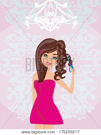 Curling iron and hair , vector illustration
