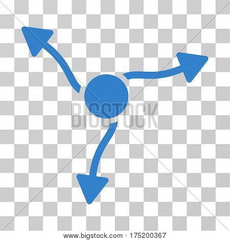 Curve Arrows icon. Vector illustration style is flat iconic symbol cobalt color transparent background. Designed for web and software interfaces.