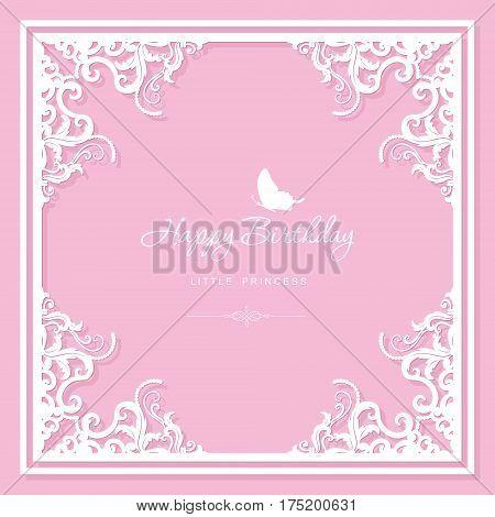 Elegant decorative frame. Birthday greeting card template. Filigree laser cutting design. For wedding bridal shower invitation. Vector.