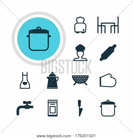 Vector Illustration Of 12 Cooking Icons. Editable Pack Of Kitchen Dagger, Oven Mitts, Bakery Roller And Other Elements.