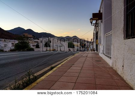 Sunrise in Andalusian village. Small village in the national park Cabo de Gata in Andalusia on a warm summer morning just before sunrise