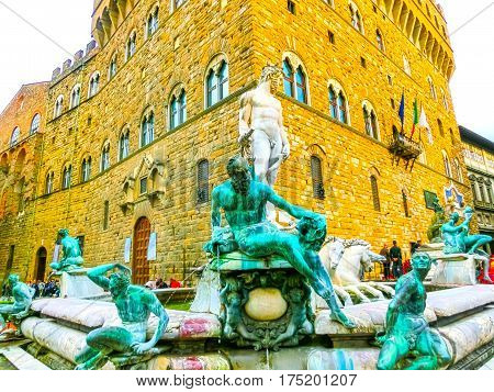 Florence, Italy - May 01, 2014: Palazzo Vecchio is the town hall of Florence. The palace was built in 1299 and since 1872 it has housed the office of the mayor of Florence, Italy