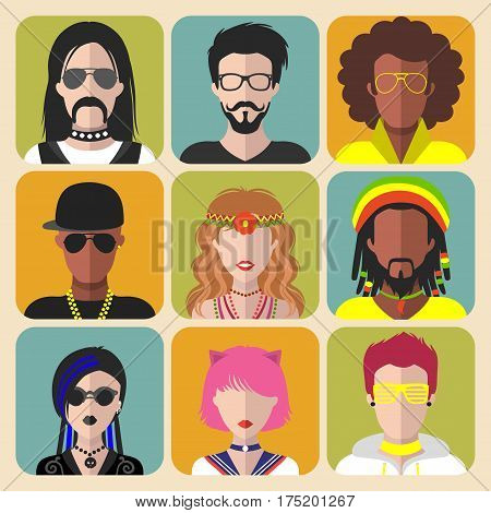 Vector set of different subcultures man and woman app icons in trendy flat style. Goth, rapper, hippy, hipster, raver, rocker, rastafarian, anime and disco fan web images.